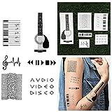 Tattify Music Themed Temporary Tattoos - Press Play (Set of 12) Long Lasting, Waterproof, Fashionable Fake Tattoos