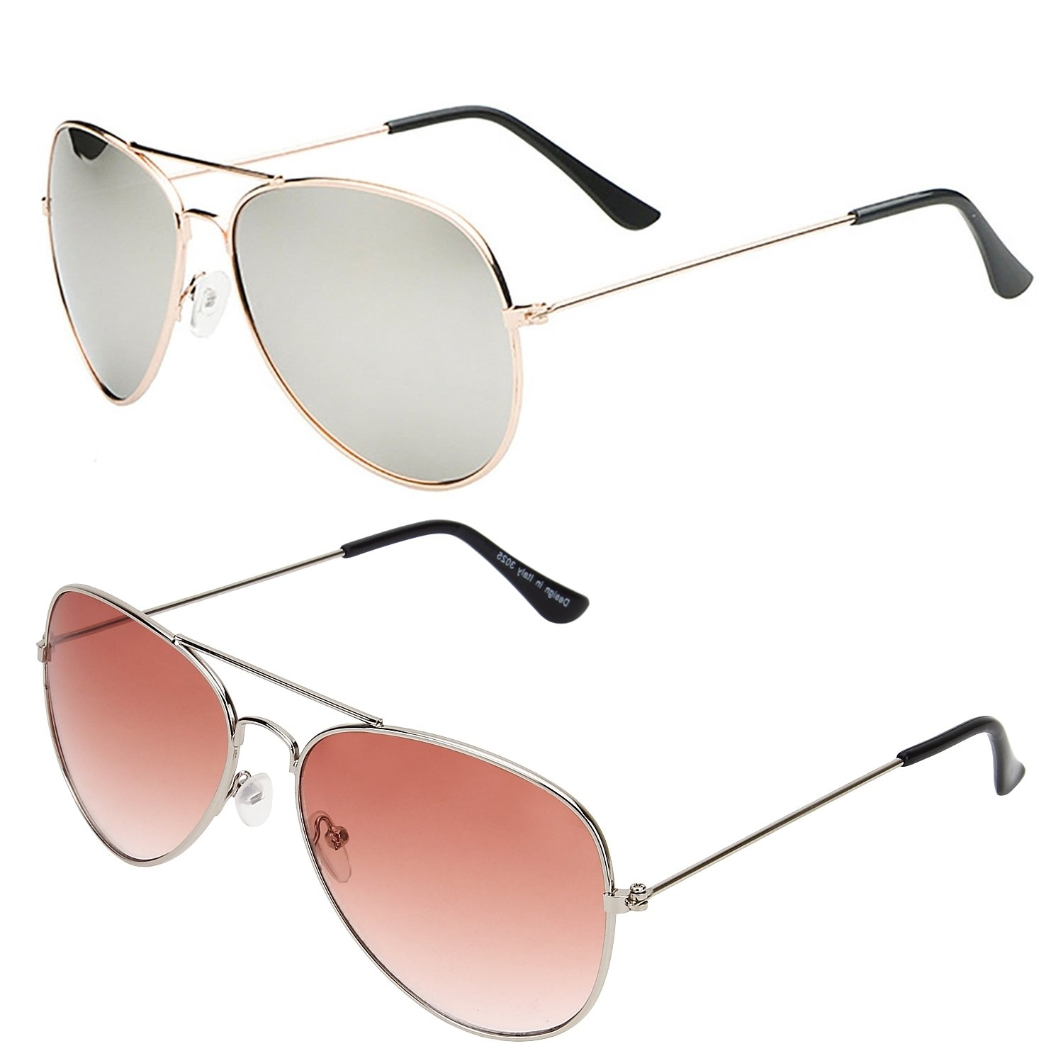 e5e3200e937 SHEOMY COMBO OF STYLISH GOLDEN SILVER MERCURY AVIATOR AND SILVER ORANGE AVIATOR  SUNGLASSES WITH 2 BOX Best Online Gifts  Amazon.in  Clothing   Accessories