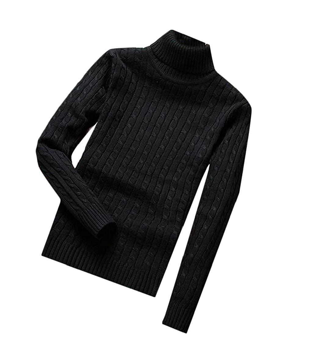 Generic Mens Casual Turtleneck Solid Color Knitted Pullover Sweaters