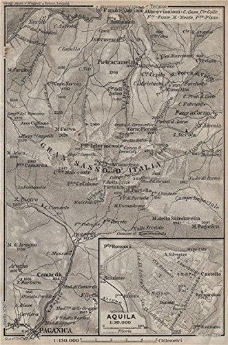Aquila Italy Map.Gran Sasso D Italia Aquila Town City Plan Paganica Italy Mappa