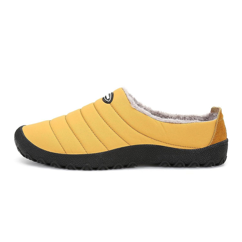 Men's Winter Warm Flat Slip-On Loafers Waterproof Snow Shoes Yellow 41