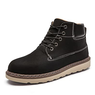 YCDA's Male Casual Leather Martin Boots Winter Snow Boots For Boys Men
