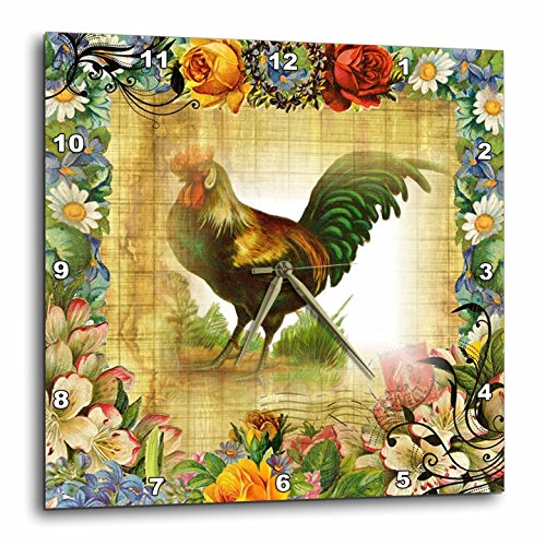 3dRose image of country Rooster on Flowered Old Postcard - Wall Clock, 10 by 10-Inch (dpp_224341_1)