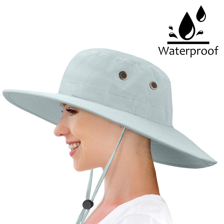 1144dacd06636 Amazon.com   Waterproof Sun Hat Outdoor Wide Brim Bucket Boonie Cap for  Safari Hiking Fishing   Sports   Outdoors