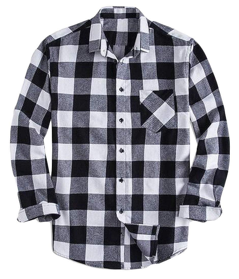 YYG Mens Long Sleeve Plus Size Loose Plaid Print Casual Big /& Tall Dress Checkered Shirt