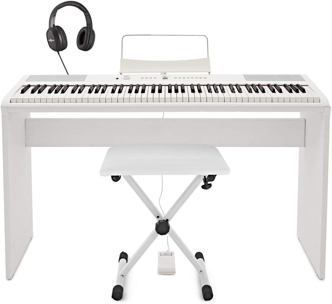Piano de Escenario SDP-2 de Gear4music + Set Completo Blanco