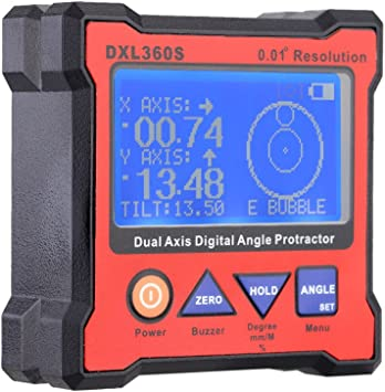 DXL360S Dual Axis Digital Angle  Level Gauge with 5 Side Magnetic Base