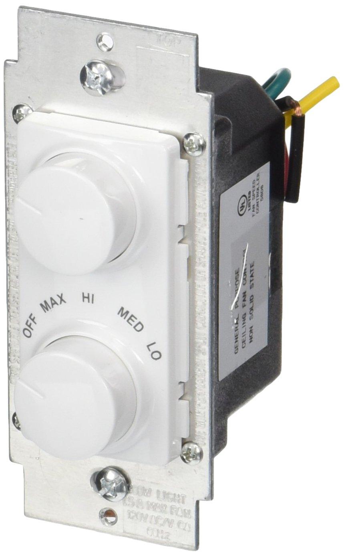 Leviton RTD01-10Z IllumaTech 1.5A 300W Rotary Combo Fan Speed Dimmer ...