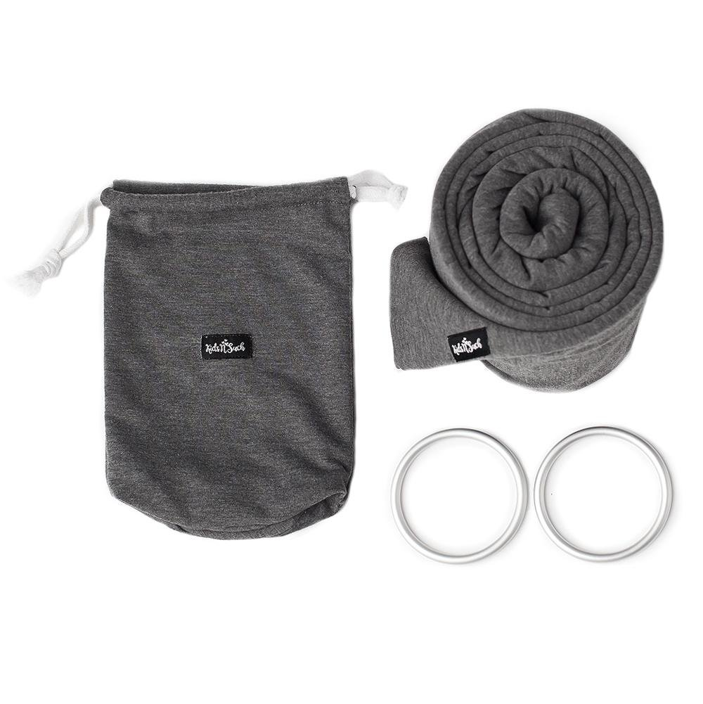 4 in 1 Baby Wrap Carrier and Ring Sling by Kids N\' Such | Charcoal Gray Cotton | Use as a Postpartum Belt and Nursing Cover with Free Carrying Pouch | Best Baby Shower Gift for Boys or Girls