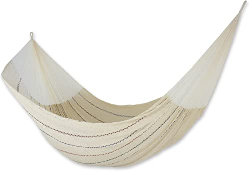 NOVICA Beige Cotton Mayan Hammock 'Sunset Riviera' Double