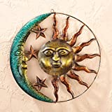 Sun & Moon Celestial Wall Sculpture Outdoor Patio Porch Hanging Sign Wall Plaque Sunburst Art Plaque