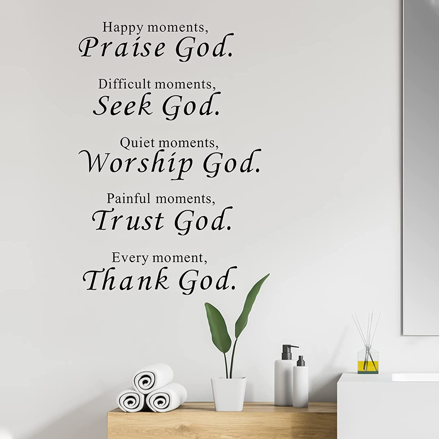 Religious Quotes Christian Inspirational Scripture Wall Sticker, Quote Sign Praise God DIY Art Saying Decor Mural, Vinyl Bible Verse Decal for Kitchen Bedroom Nursery Office Home Decoration