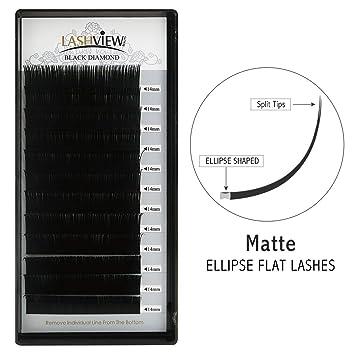 2bc72306dfc LASHVIEW Mink SUPER MATTE Flat Mink Black Ellipse Eyelash Extensions  Extremely Soft Application-friendly Lashes