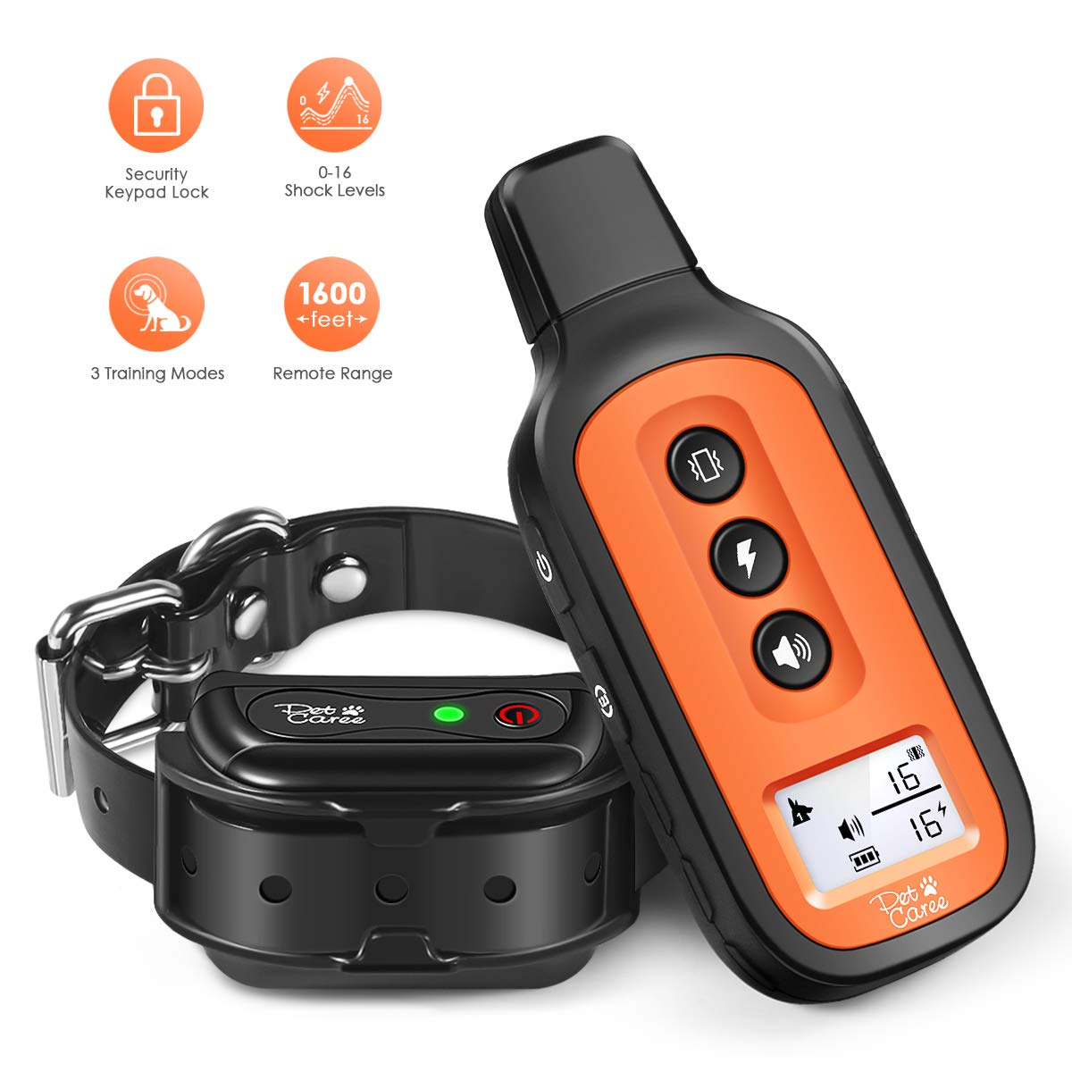 Cuteepets Dog Training Collar, 2019 Upgrade Rechargeable Dog Shock Collar with 3 Training Modes,100% Waterproof Training Collar, Up to 1600 Ft Remote Range, 0-16 Shock Levels Dog Training Set