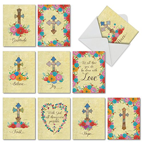 CROSS MY HEART: 10 Assorted Blank All Occasions Cards Featuring Inspirational Words and Phrases Combined With Watercolor Images of Flowers and Crosses, With Envelopes. - Blank Cross