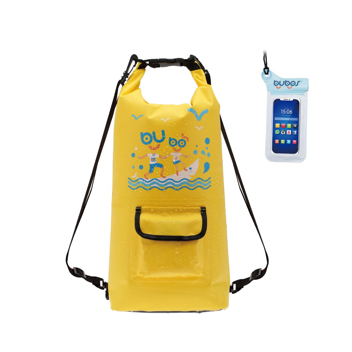 BUBOS Waterproof Dry Bag, Roll Top Sack Keeps Gear Dry for Kayaking, Boating, Canoeing, Snowboarding, Fishing, Rafting, Swimming, Camping with waterproof Phone Case, Yellow. by BUBOS