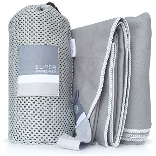 Sports, Travel & Beach Towel - Lightweight, Compact, Absorbent, Quick-Dry, Soft Microfiber Suede - For Camping, Hiking, Gym, Beach, Yoga, CrossFit, Swimming, and Adventures (Gray+White, XL - Shipping Sunglasses Free Use