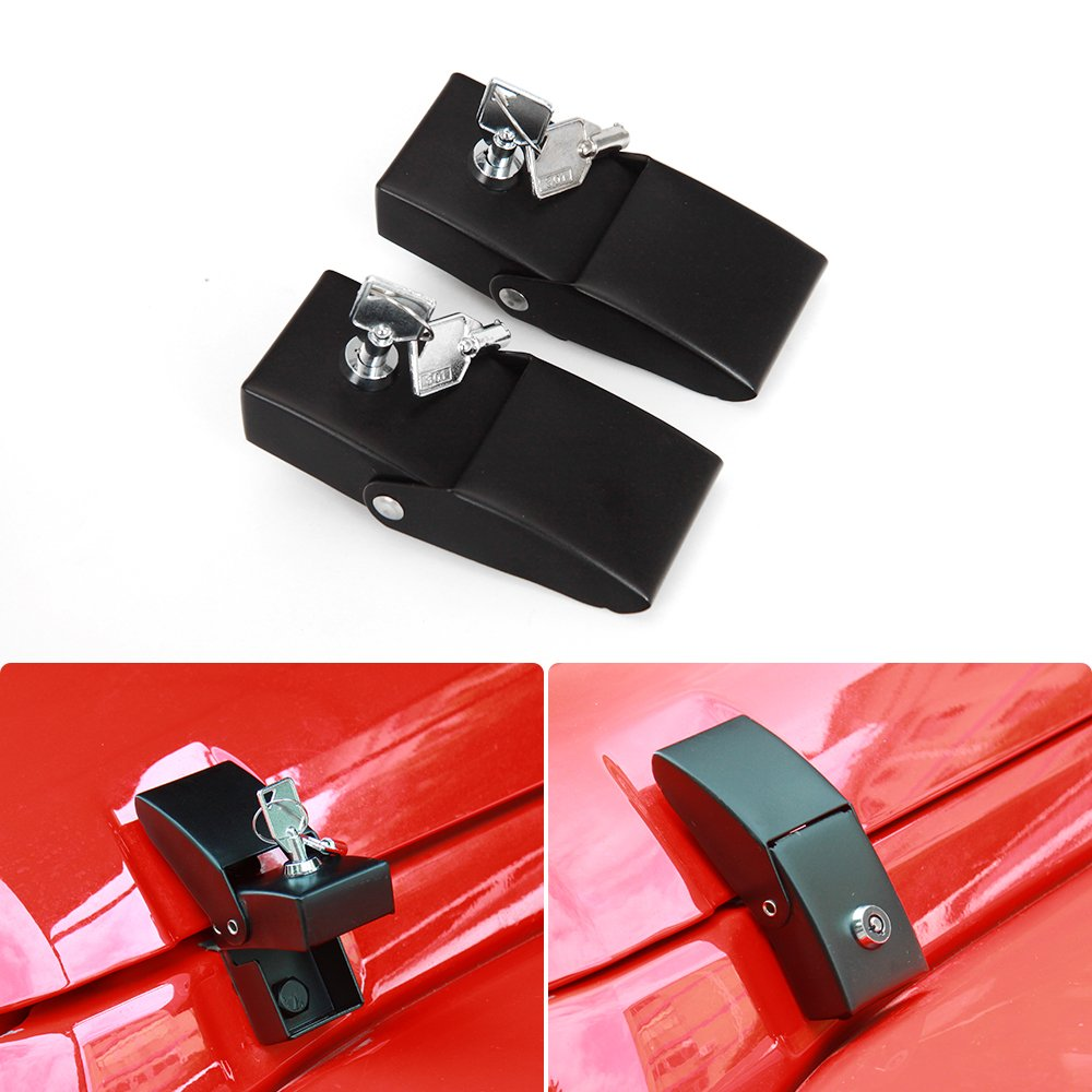 Stainless Steel Hood Latches Hood Lock Catch Latches Kit for Jeep Wrangler JK JKU 2007-2017 JeCar
