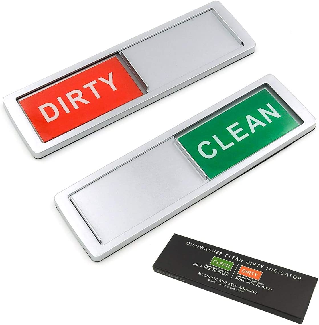 Dishwasher Magnet Clean Dirty Sign Non-Scratch Magnetic Silver Signage Indicator Decorative Work on All Dishwashers Kitchen Gadgets Slider Locks For Home and Office Use (Silver)