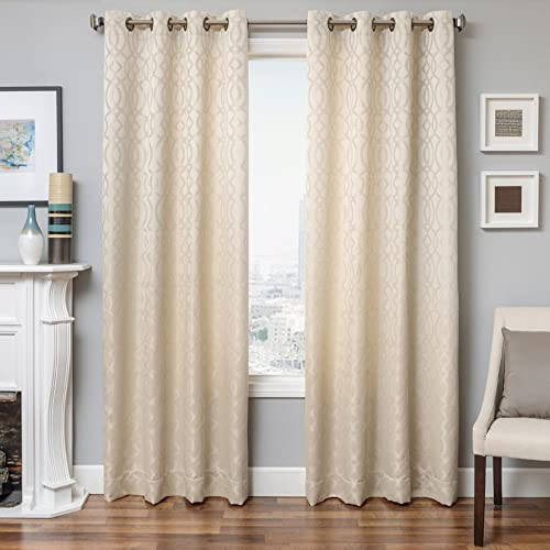 Softline Essex Series Woven Jacquard Window Curtain/Panel/Treatment/Sheer 55″ x 96″ Grommet Top Curtain