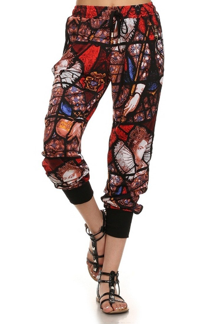 ICONOFLASH Women's Printed Joggers with Elastic Waistband & Pockets (Stained Glass, Large)