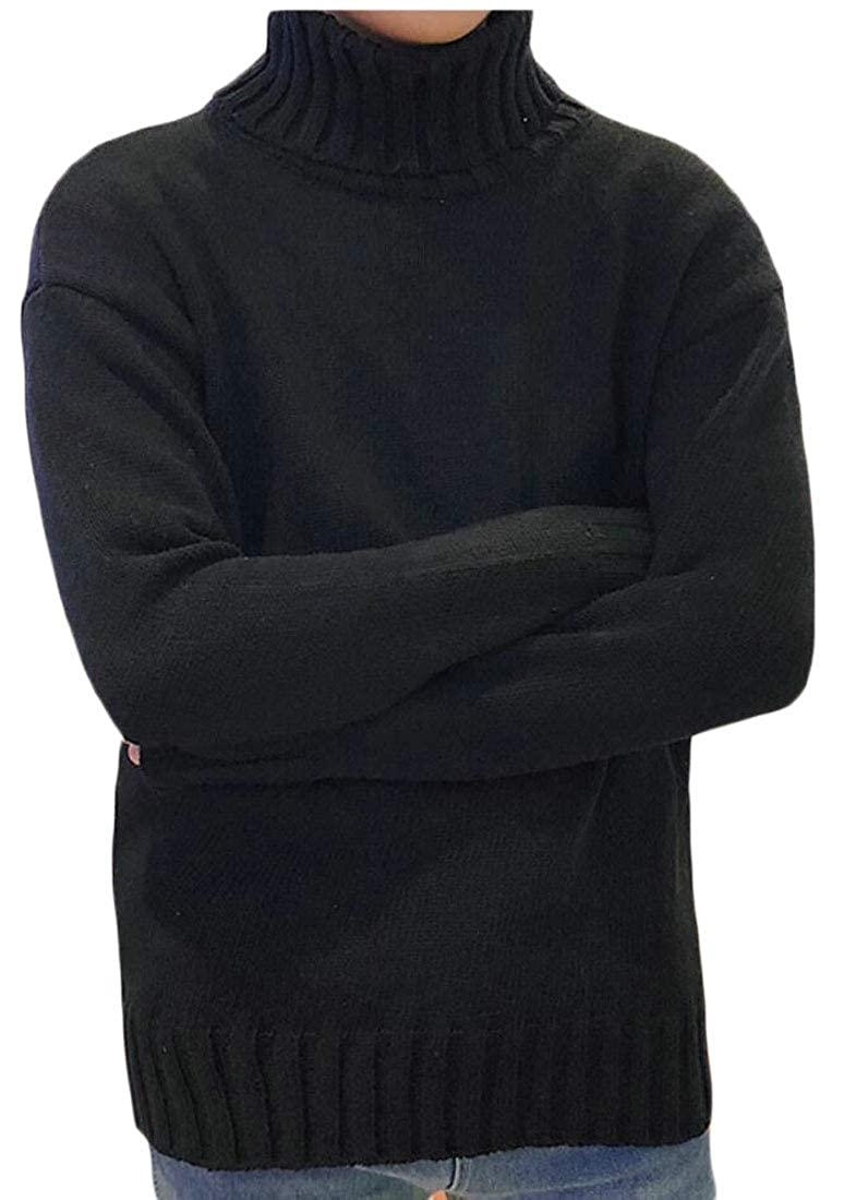YIhujiuben Mens Solid Turtleneck Loose Fit Knitting Hipster Pullover Sweaters