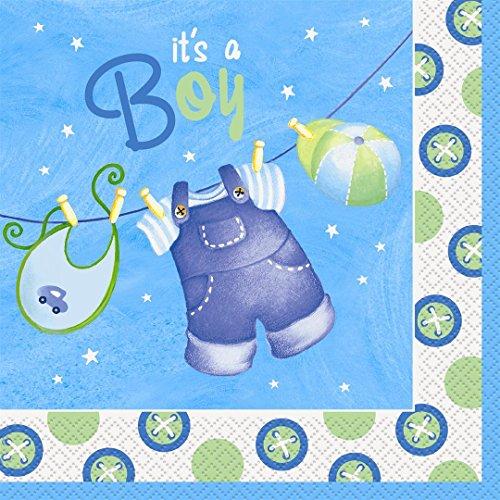 Blue Clothesline Baby Shower Napkins
