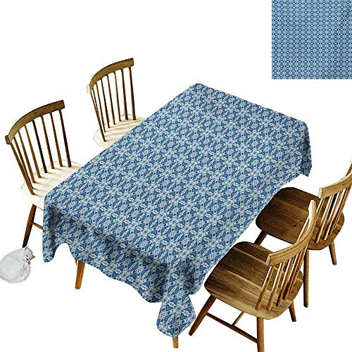 Living Room Rectangular Tablecloth W60 x L84 Ethnic Portuguese Azulejo Tile Inspired Pattern with Ornamental Foliage Pattern Navy Blue Orange White Suitable for Party Outdoors Farmhouse Coffee Shop -