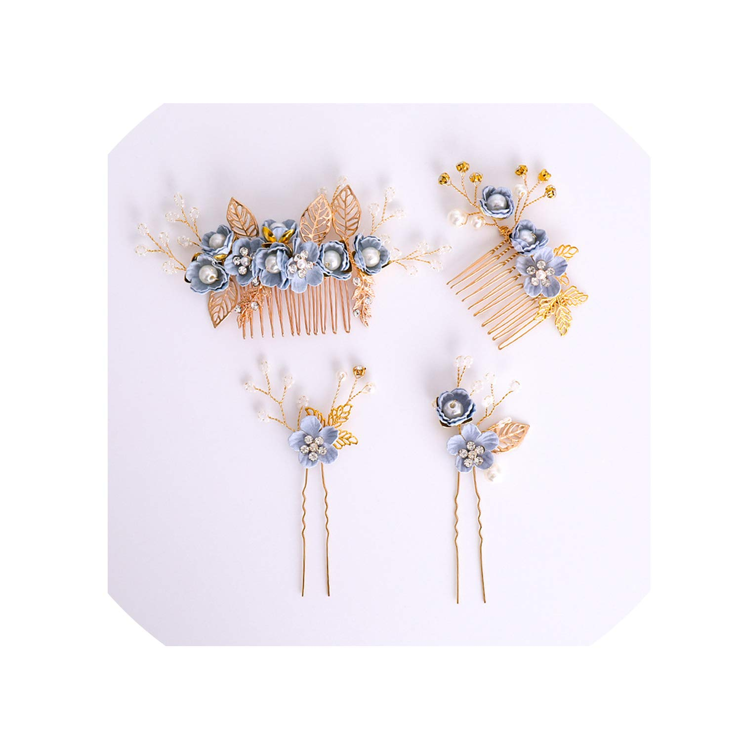 Vintage Blue Flowers Wedding Hair Pins Gold Leaves Metal Hair Comb Sticks Western Bridal Crystal Pearl Head Accessories,Set