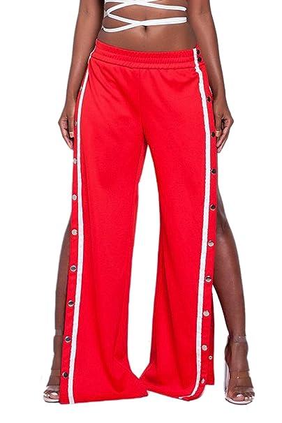 La Mujer Alta De Hendidura Lateral Boton Casual Pantalones Largos Pantalones  De Pierna Ancha  Amazon.es  Ropa y accesorios 0de590a2854