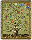 Green Mandala Tree of Life Tapestry Throw