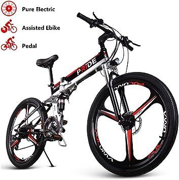 ENGWE Pride-3 Bicicleta eléctrica Plegable con suspensión Completa con Rueda integrada, Disco Doble, batería de Iones de Litio extraíble y 21 velocidades Shimano Gear: Amazon.es: Deportes y aire libre