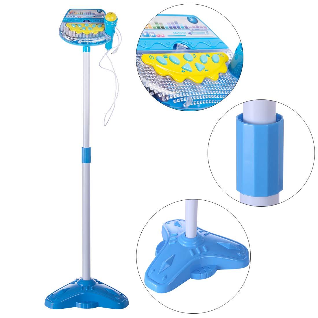 LVPY Karaokemaschinen Mikrofon Spielzeug, Standmikrofon Einstellbar mit Ständer und Licht Mikrofon Musik Spielzeug Geschenk für Kinder - Blau