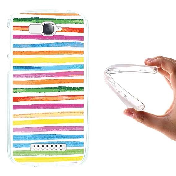 WoowCase Alcatel One Touch Pop C7 Hülle, Handyhülle Silikon für [ Alcatel One Touch Pop C7 ] Aquarell- farbige Streifen Handy
