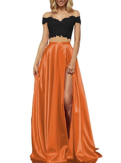 Long Two Piece Lace Satin Prom Dresses with