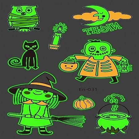 adgkitb 5piezas Tatuaje de Halloween para niños Brillante Oscuro ...