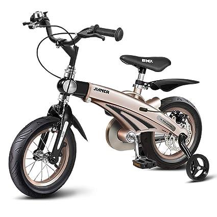 L&U Rueda de 16 Pulgadas para niños Bicicleta, Oro, Rueda de neumático de Acero