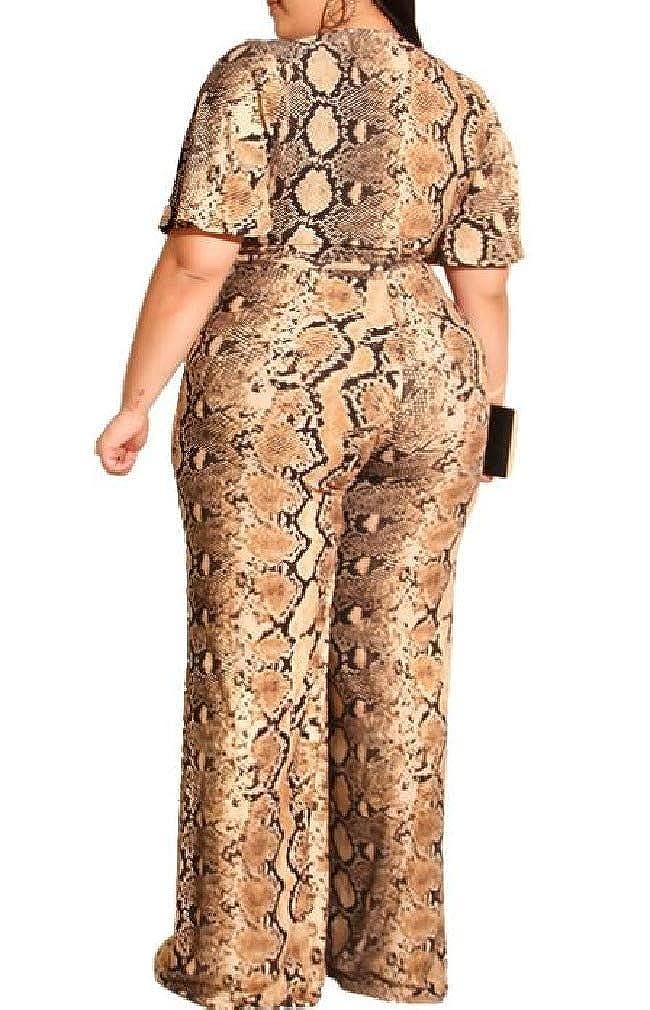 Losait Womens Straight Printed V-Neckline Plus Size Jumpsuit Trousers