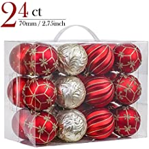Valery Madelyn 24ct 70mm Luxury Red and Gold Shatterproof Christmas Ball Ornaments Decoration,7cm/2.75inch,24 Hooks Included, Themed with Tree Skirt(Not Included)