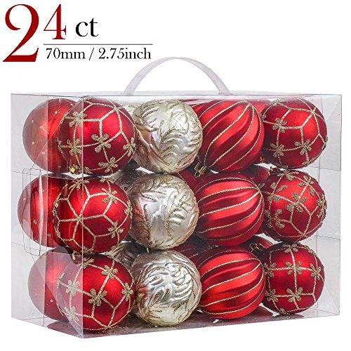 Valery Madelyn 24ct 70mm Luxury Red and Gold Shatterproof Christmas Ball Ornaments Decoration,7cm/2.75inch,24 Hooks Included, Themed with Tree Skirt(Not Included) (And Christmas Gold Red Trees)