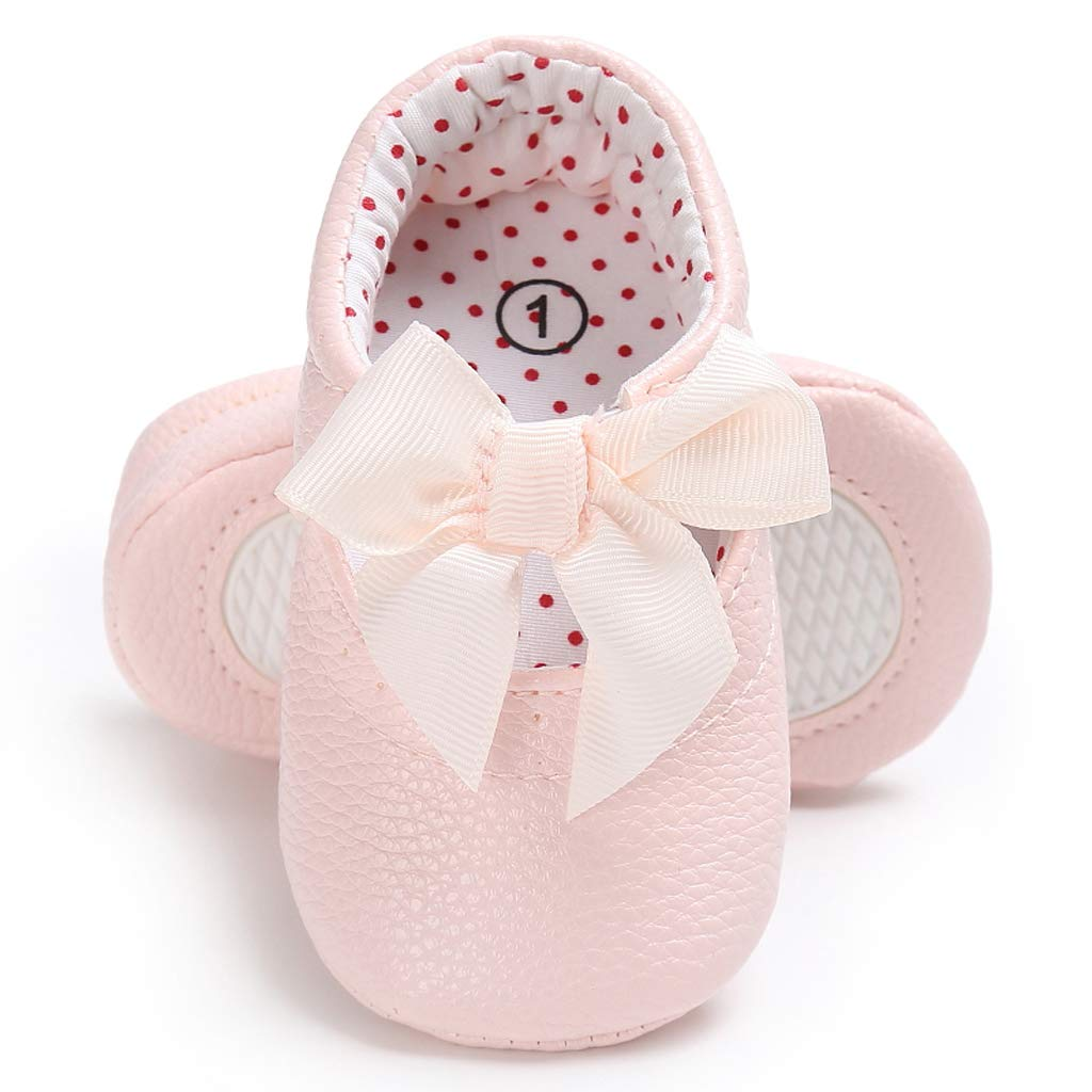 Horoshop Newborn Baby Girls Moccasin Shoes Soft Bottom PU Leather Toddler Kids First Walkers Non-slip