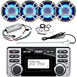 ClarionMarine 21' - 29' Pontoon Boat Audio Package: Audio CD/USB/MP3/WMA Watertight Stereo Receiver, 4 x 6.5 Coaxial 200 Watt Blue-LED Marine Speakers, 4 Channel Amplifier, Amp Kit, AM/FM Antenna