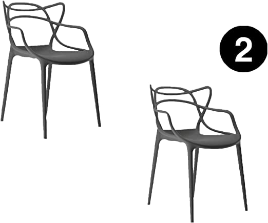 IBH DESIGN Lot 2 Chaises Miami–Grises–inspirée Starck Masters