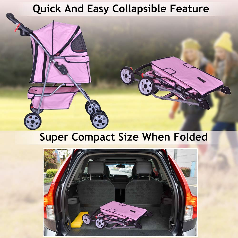 4 Wheels Pet Stroller Cat Dog Cage Stroller Travel Folding Carrier with Cup Holders and Removable Liner for Small-Medium Dog Cat