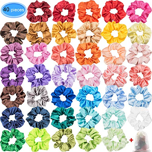 Satin Scrunchies for Hair 40 Colors, EAONE Glossy Hair Scrunchies Elastic Hair Ties Ponytail Holder Headbands for Women Girls, 40 Pieces ()