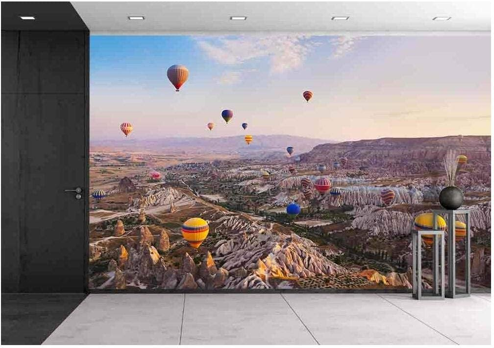 Wall26 Hot Air Balloon Flying Over Rock Landscape At Cappadocia Turkey Removable Wall Mural Self Adhesive Large Wallpaper 100x144 Inches Amazon Com