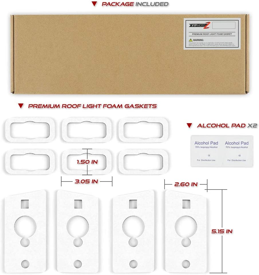 Upgrade 4mm Thickness 10-Piece Single Side Ultra Strong Adhesive VIPMOTOZ Roof Top Cab Marker Light Gasket Weather Seal Foam Replacement For 2003-2009 Hummer H2