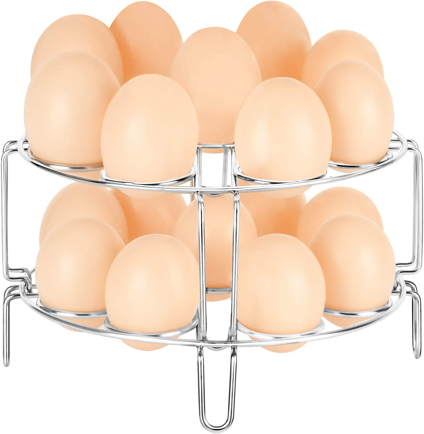 YIMI Egg Steamer Rack 18 Holes, Stackable Steaming Rack Stand for 6,8Qt Instant Pot, Stainless Steel Food Steaming Basket Holder, 2pcs