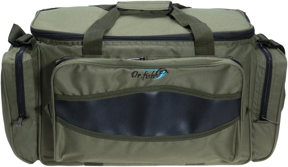 Dr.Fish Large Fishing Tackle Bag Carryall Kayak Gear Bag YKK Zipper Waterproof Shoulder Strap Freestand Carp Fishing Bag Camping Hiking