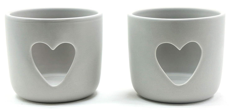 2x ufficiale in ceramica Love Heart Grey Stone Yankee Candle votive o portacandele all' interno o all' esterno manicotto di campionamento–non incluso My Planet Yankee Candle
